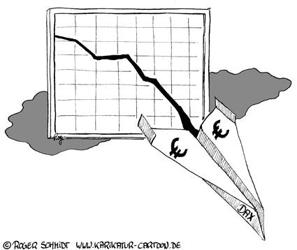 Karikatur, Cartoon: DAX im Sinkflug, © Roger Schmidt
