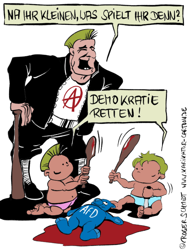 Karikatur, Cartoon: Demokratisch legitimierte Gewalt, © Roger Schmidt