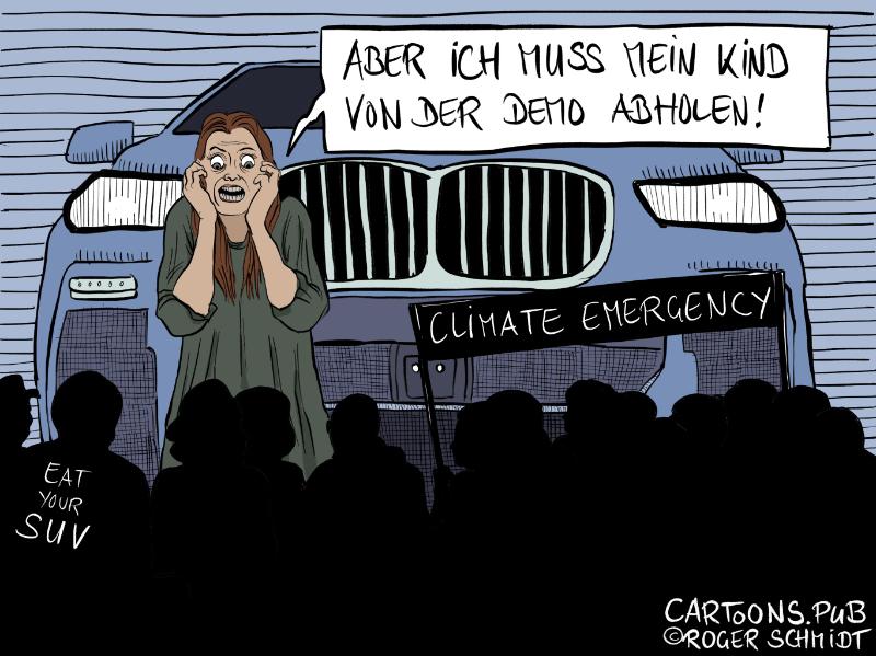 Karikatur, Cartoon: Demos gegen Klimanotstand © Roger Schmidt