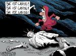 Karikatur, Cartoon: Der Denkmalsturz © Roger Schmidt