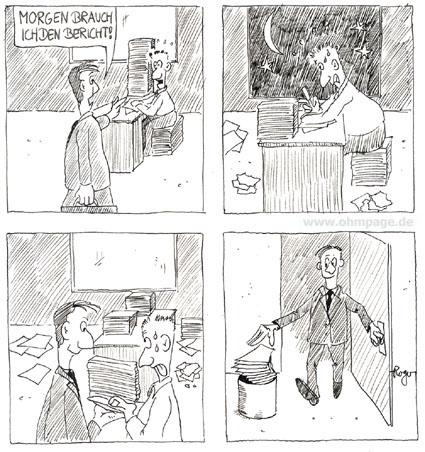 Karikatur, Cartoon: Mobbing, der Bericht, © Roger Schmidt