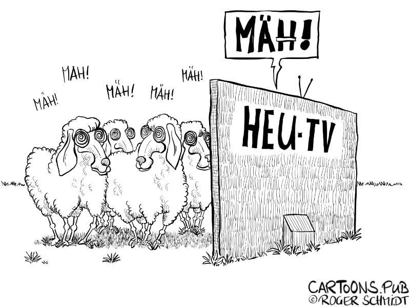 Karikatur, Cartoon: Deutsches HEU-Fernsehen © Roger Schmidt