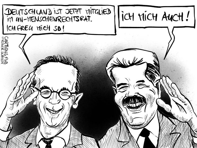 Karikatur, Cartoon: Deutschland Mitglied im UN-Menschenrechtsrat © Roger Schmidt
