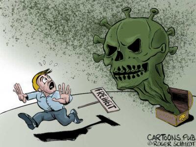 Karikatur, Cartoon: Die Freiheit stirbt langsam © Roger Schmidt