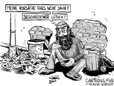 Karikatur, Cartoon: Die neue Bescheidenheit © Roger Schmidt
