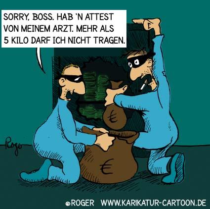 Karikatur, Cartoon: Dieb mit Attest, © Roger Schmidt