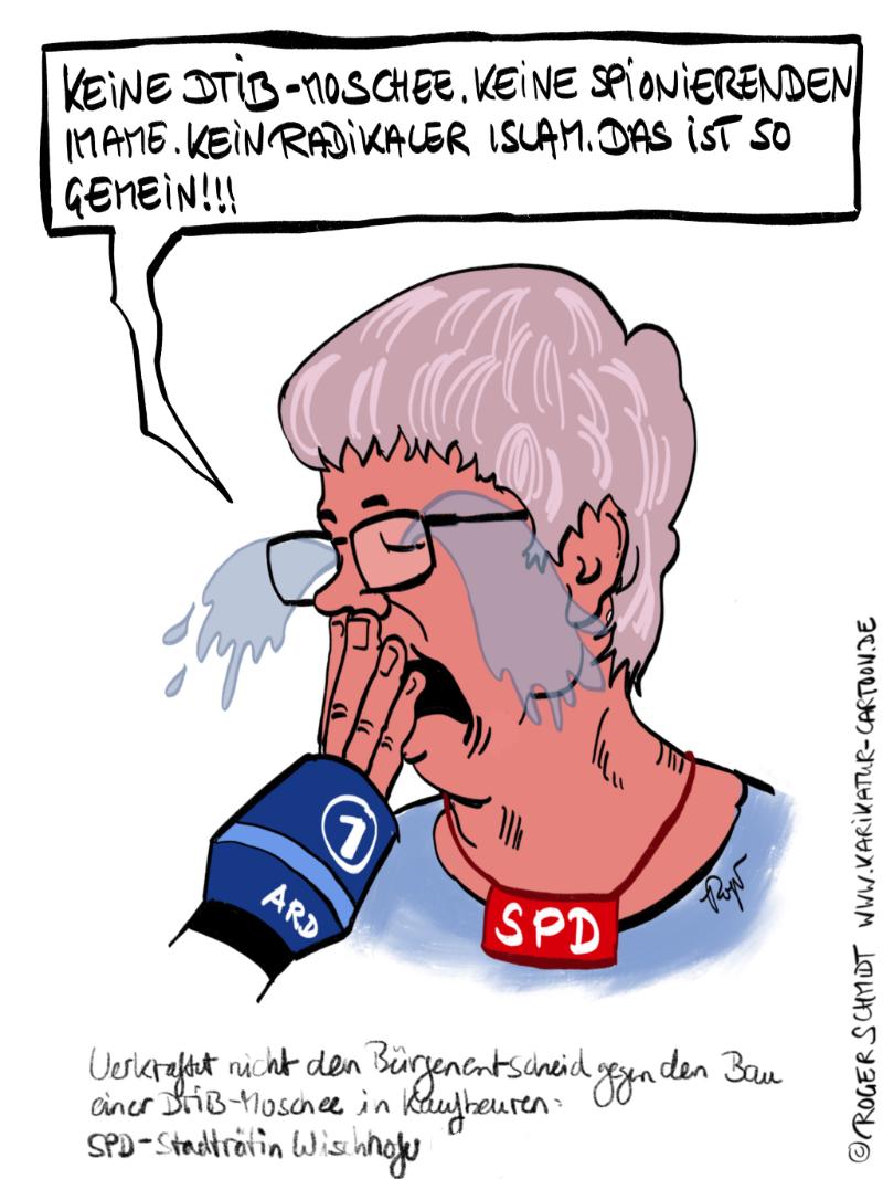 Karikatur, Cartoon: DITIB-Moschee in Kaufbeuren, © Roger Schmidt