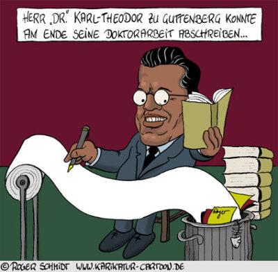 Karikatur, Cartoon: Doktorarbeit zu Guttenberg, © Roger Schmidt