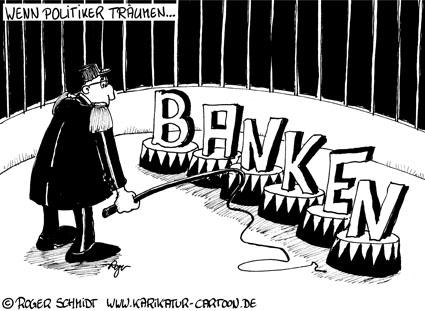 Karikatur, Cartoon: Dompteur für Banken gesucht!, © Roger Schmidt