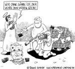 Karikatur, Cartoon: Die Doppelmoral und der Rücktritt von Wulff, © Roger Schmidt