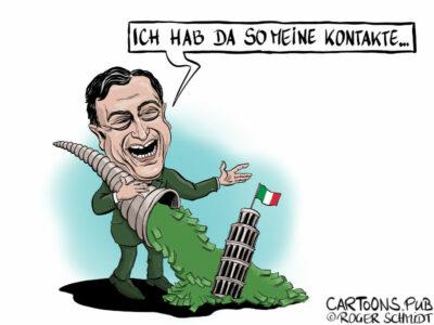 Karikatur, Cartoon: Dragi soll Italien retten © Roger Schmidt