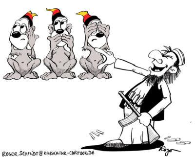 Karikatur, Cartoon: Die drei deutschen Affen - Nicht hören - Nicht reden - Nicht sehen, © Roger Schmidt