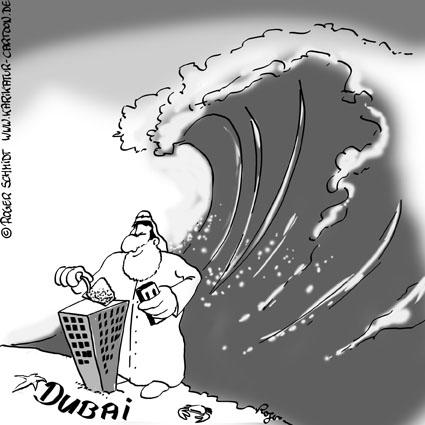 Karikatur, Cartoon: Zahlungsnot in Dubai, © Roger Schmidt