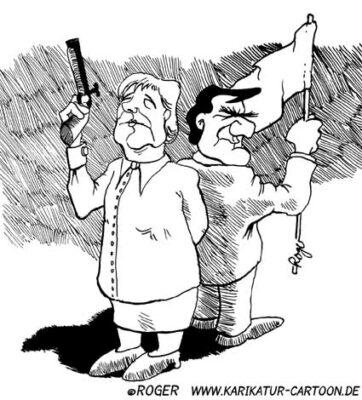Karikatur, Cartoon: Duell, © Roger Schmidt