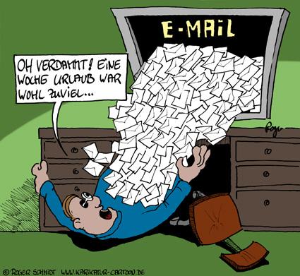 Karikatur, Cartoon: E-Mail Posteingang abrufen, © Roger Schmidt