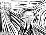 Karikatur, Cartoon: Edvard Munch - Der Corona-Schrei © Roger Schmidt