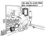 Karikatur, Cartoon: Einbauküche, © Roger Schmidt