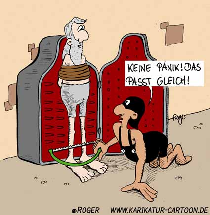 Karikatur, Cartoon: Eiserne Jungfrau, © Roger Schmidt