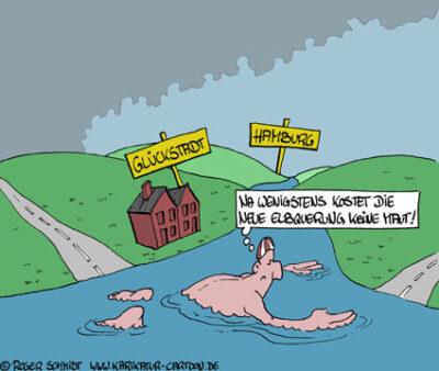 Karikatur, Cartoon: Elbquerung Glückstadt, © Roger Schmidt