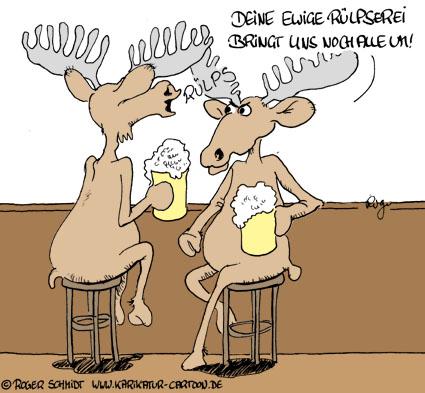 Karikatur, Cartoon: Rülpsende Elche, © Roger Schmidt