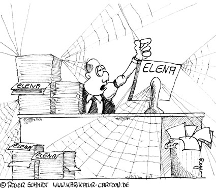 Karikatur, Cartoon: ELENA - elektronischer Entgeldnachweis, © Roger Schmidt
