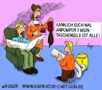 Karikatur, Cartoon: Eltern und Taschengeld, © Roger Schmidt