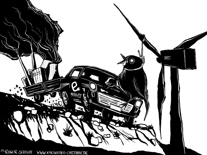 Karikatur, Cartoon: Energiewende und CO2, © Roger Schmidt