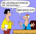 Karikatur, Cartoon: Panische Entscheidungen - Entscheidungsschwäche hilft!, © Roger Schmidt