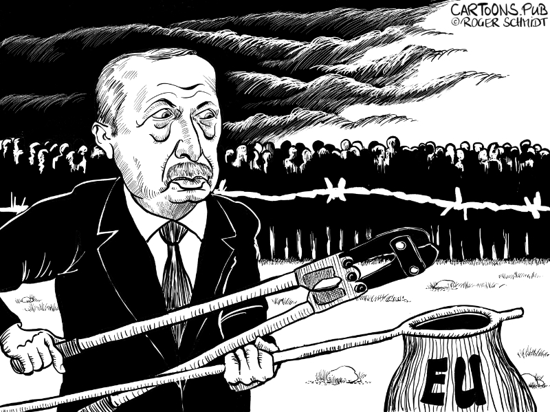Karikatur, Cartoon: Erdogan droht mit Flüchtlingswelle © Roger Schmidt
