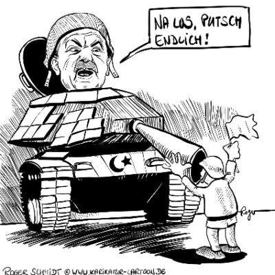 Karikatur, Cartoon: Erdogan putscht in der Türkei, © Roger Schmidt