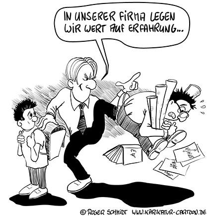 Karikatur, Cartoon: Erfahrung im Job, © Roger Schmidt