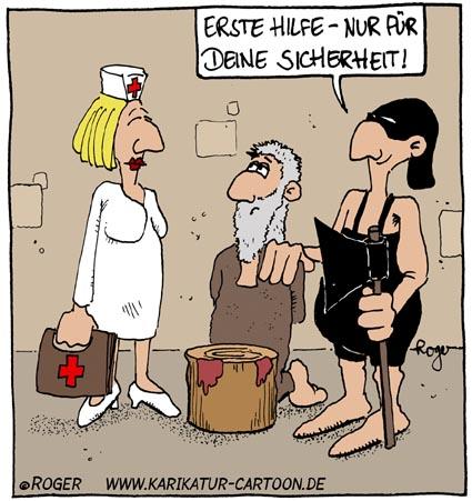 Karikatur, Cartoon: Erste Hilfe, © Roger Schmidt