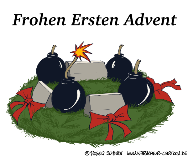Karikatur, Cartoon: Frohen Ersten Advent, © Roger Schmidt