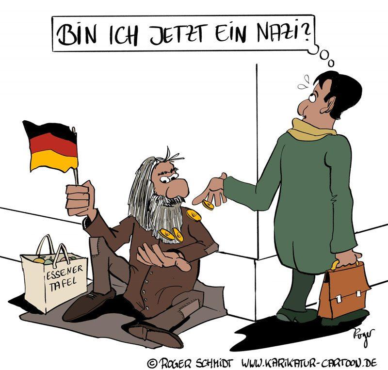 Karikatur, Cartoon: Essener Tafel, © Roger Schmidt