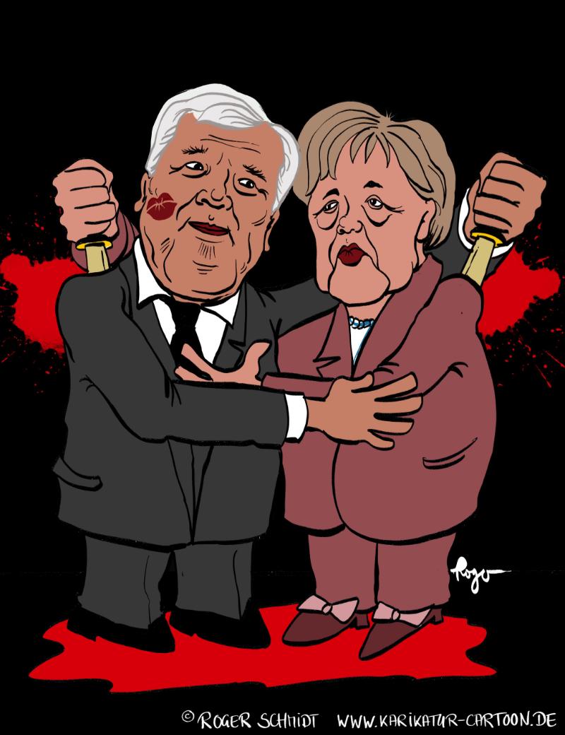 Karikatur, Cartoon: EU-Gipfel vereint Merkel und Seehofer, © Roger Schmidt