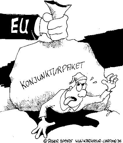 Karikatur, Cartoon: EU-Konjunkturpaket, © Roger Schmidt