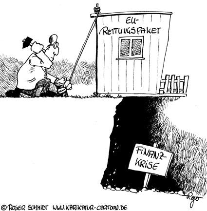 Karikatur, Cartoon: Banken saniert - Dank EU-Rettungspaket, © Roger Schmidt