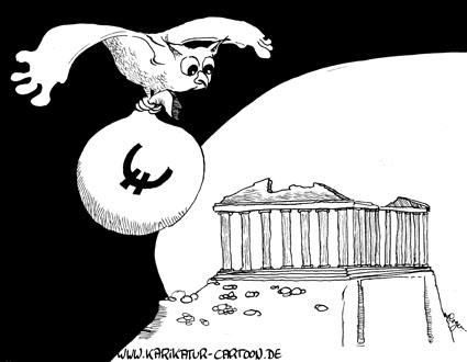Karikatur, Cartoon: Eulen nach Athen tragen, © Roger Schmidt