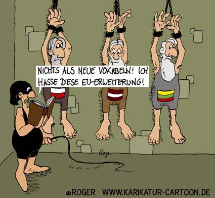 Karikatur, Cartoon: EU-Erweiterung, Europa, Polen, Litauen, Lettland, ..., © Roger Schmidt