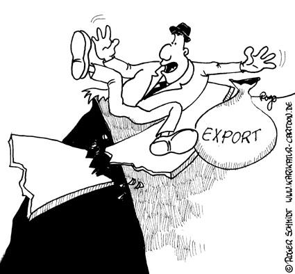 Karikatur, Cartoon: Exportwirtschaft bricht in Deutschland ein, © Roger Schmidt