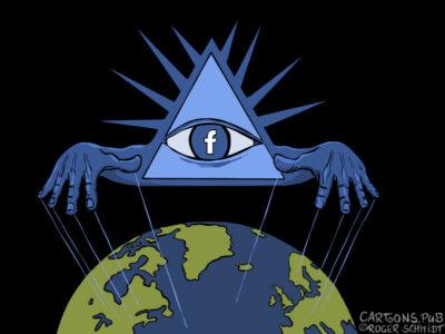 Karikatur, Cartoon: Facebook manipuliert die Welt © Roger Schmidt