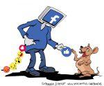Karikatur, Cartoon: Facebook Social Media und Behaviorismus, © Roger Schmidt