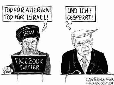 Karikatur, Cartoon: Facebook- und Twittersperre für Trump © Roger Schmidt