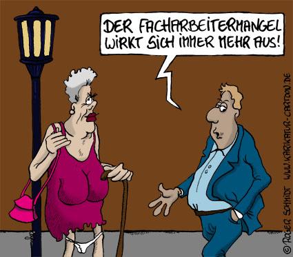 Karikatur, Cartoon: Facharbeitermangel in Deutschland, © Roger Schmidt