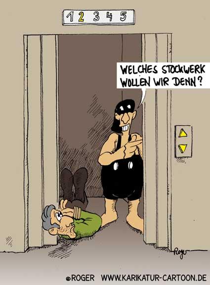 Karikatur, Cartoon: Fahrstuhl, © Roger Schmidt