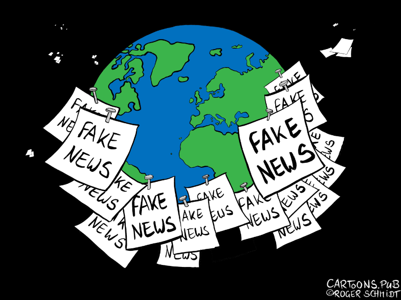 Karikatur, Cartoon: Fake News als Propaganda-Waffe © Roger Schmidt