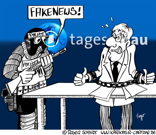 Karikatur, Cartoon: FakeNews, © Roger Schmidt
