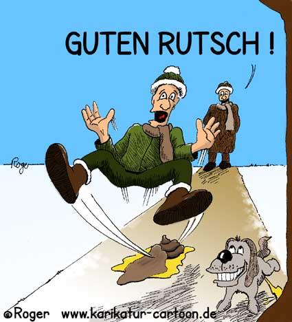 Karikatur, Cartoon: Guten Rutsch, Neues Jahr, Sylvester, © Roger Schmidt