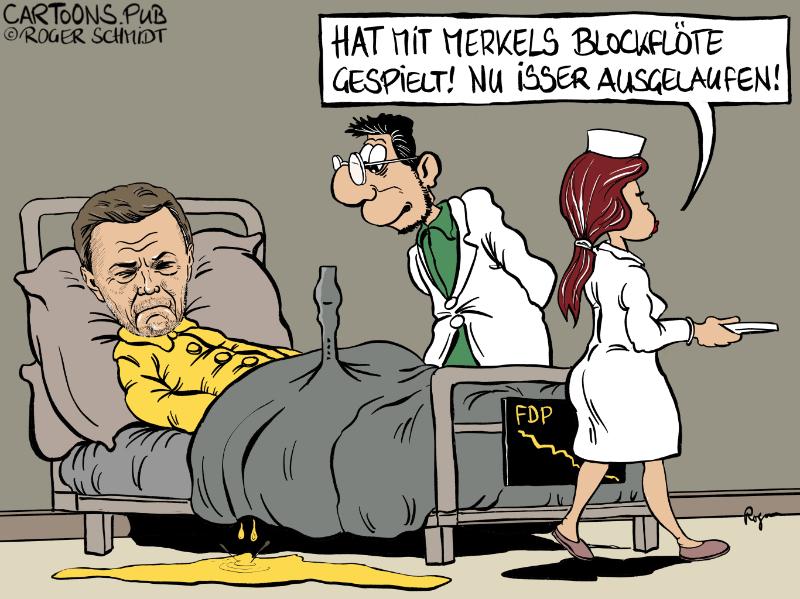 Karikatur, Cartoon: FDP-Abgesang in Hamburg © Roger Schmidt