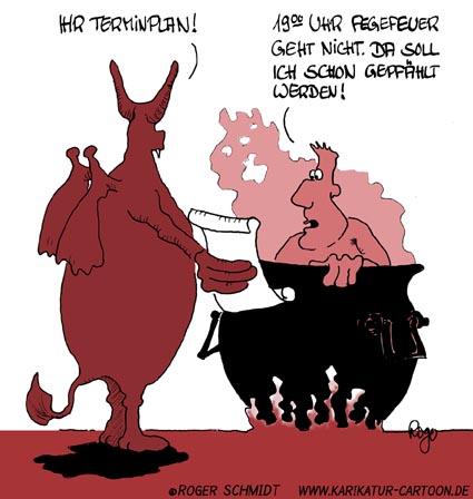 Karikatur, Cartoon: Fegefeuer, © Roger Schmidt